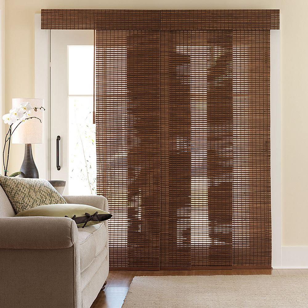 Sliding bamboo panel blinds