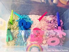 Rainbow Letters Sensory Bin
