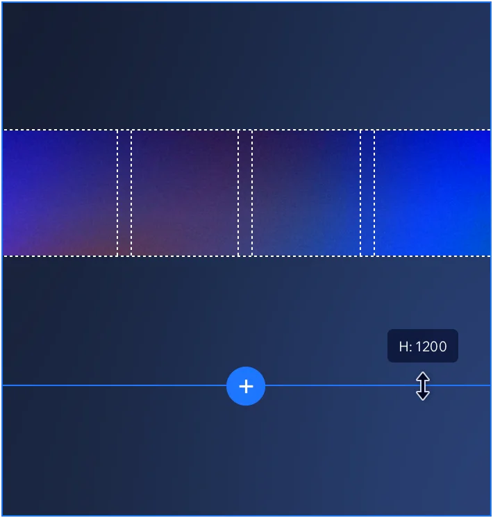mage showing dark blue background with grid over it. The grid has margins and columns and is a purple/blue colour. Beneath is the icon for adding another section.