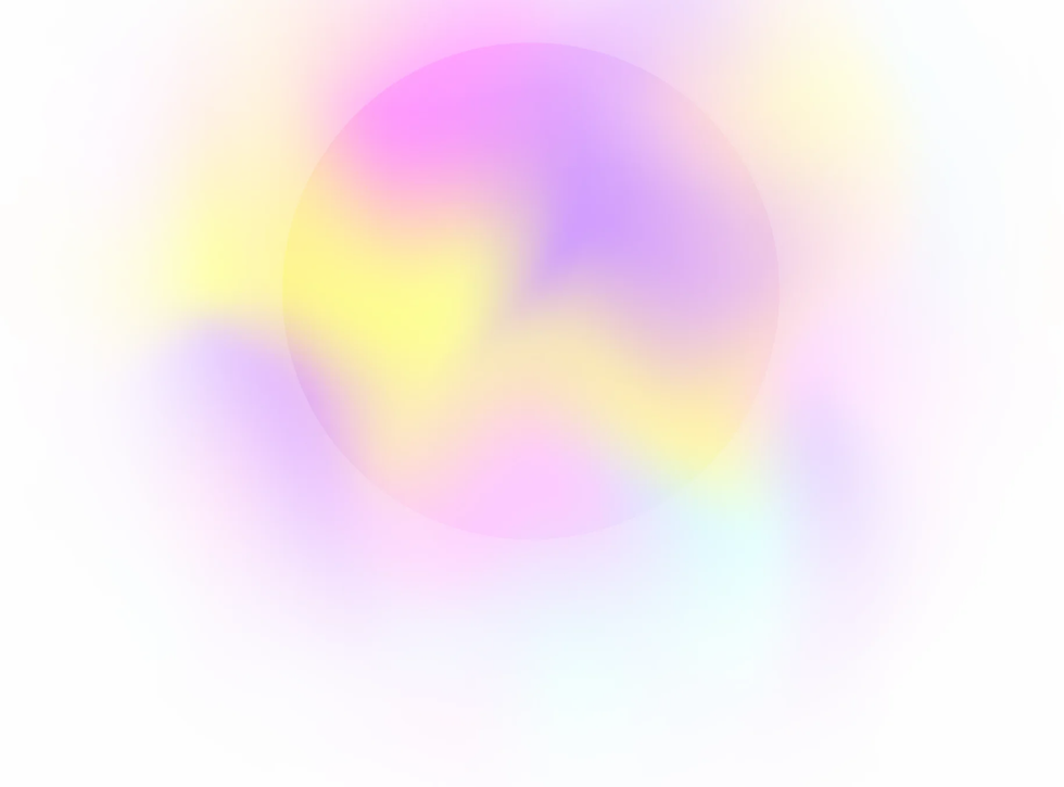 A pastel mesh gradient background with a transparet circle