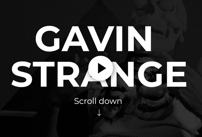 Image of the name Gavin Strange displayed in large white letters over a black background with a faded skeleton.