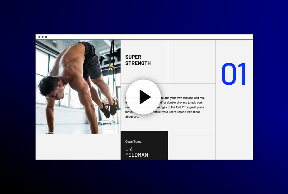 Image showing thumbnail for site.  With a grid over the page, there is 1 long column on the right side and smaller boxes in the middle filled with some text, and an image of a person doing exercise on the left side.