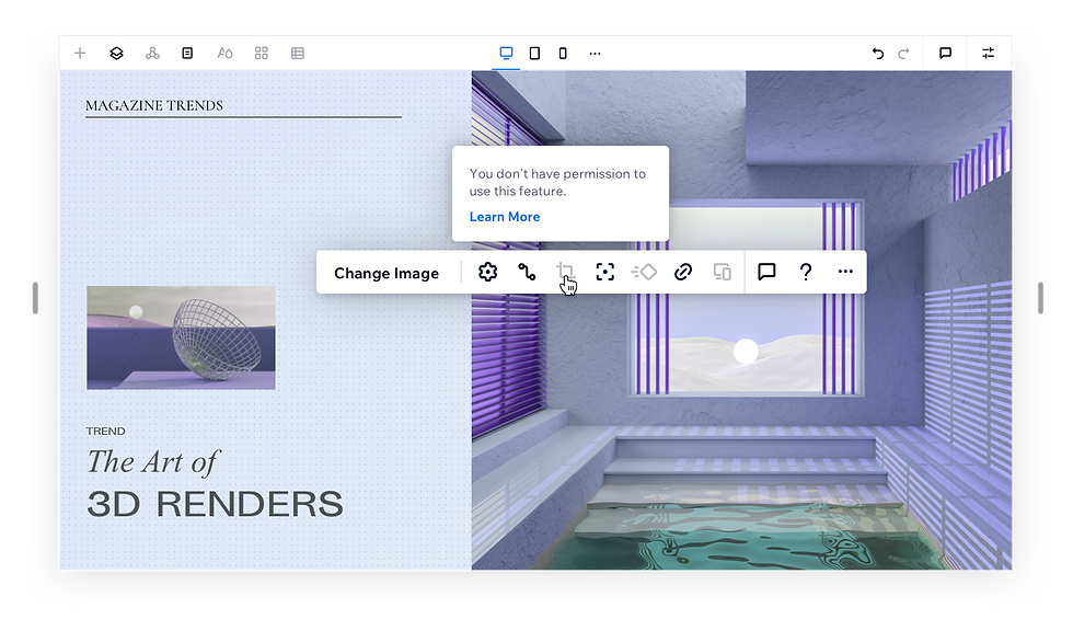 Design website showing the art of 3D renders with an abstract geometric render on the right. Action bar is shown with the mouse hovering over the crop tool.