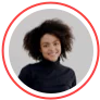 image of person in a circle facing the camera. There is a red circle round the image.