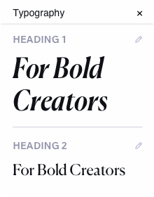 Image showing typography options. There are 2 heading style