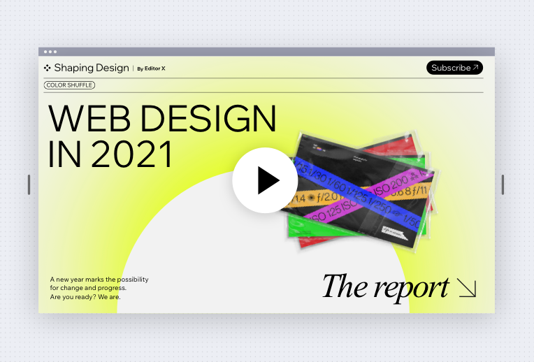 A screenshot of the web design trends-report website, with three website designs against gradient yellow background.