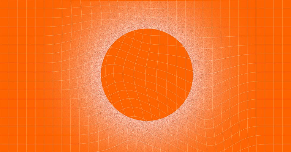 A circle against a distorted grid background