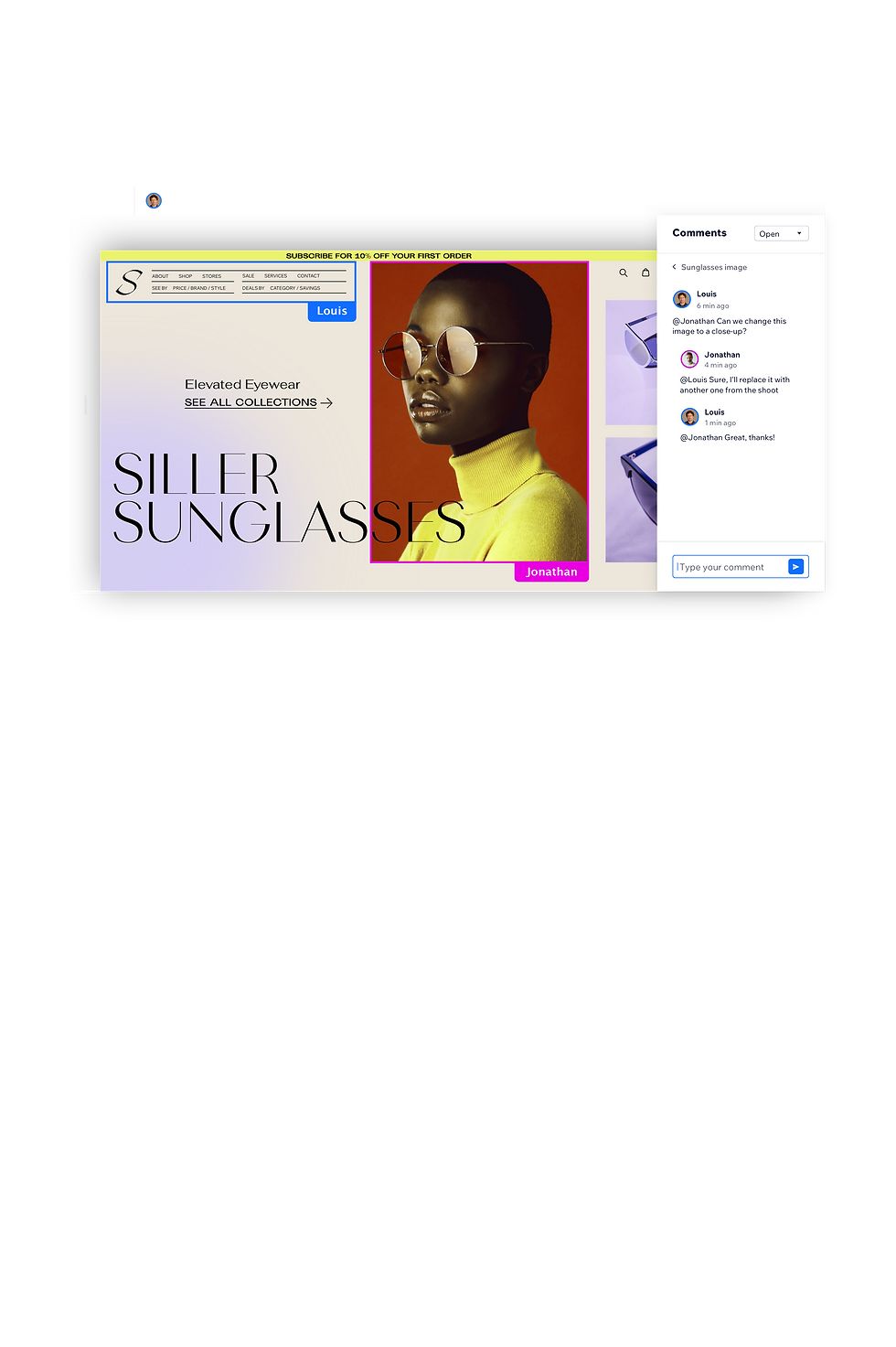 """""""Siller Sunglasses"""" site in progress. Model wearing sunglasses and the chat functionality open on right."""