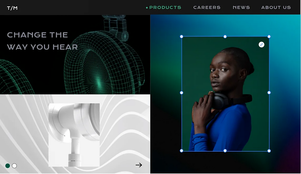 Image showing website for headphones. On the Right image showing a green background with a person, turned to the left, facing towards the camera.  , a horizontal menu at the top. On the left, there is an image on a black background with text over it at the top. At the bottom, is a white and grey background with headphones on it.