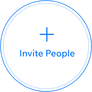 image of circle with text saying invite people and + sign in it.