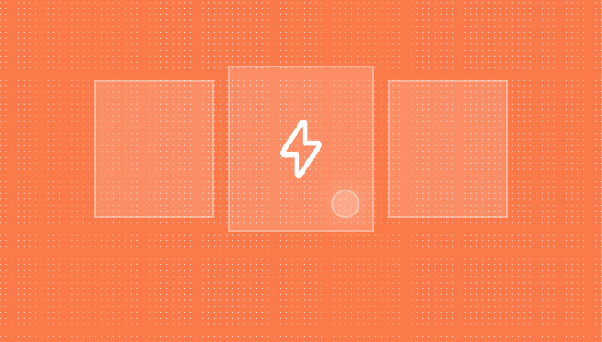 Thumbnail indicating interactions. Orange background with a shaded orange container over it. In the middle of the container is a white logo.