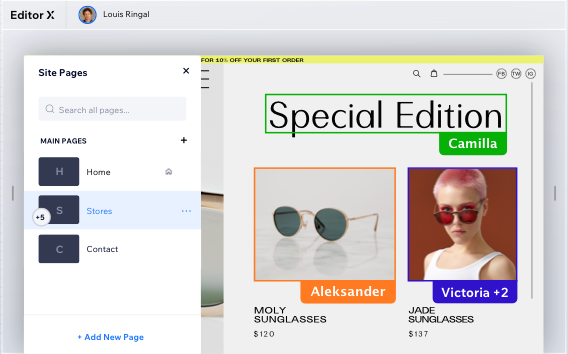 """""""Siller Sunglasses"""" site in progress. Site pages menu on the left, and on the right several collaborators are selecting various text and image elements."""