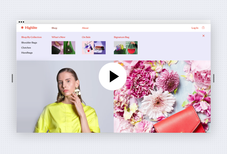 Image of website selling handbags. There is a drop down horizontal menu open with 4 options on the left and 3 categories on the right. Beneath that, there is an image of a woman facing the camera. On the right, is an image of a handbag placed on a bed of flowers.