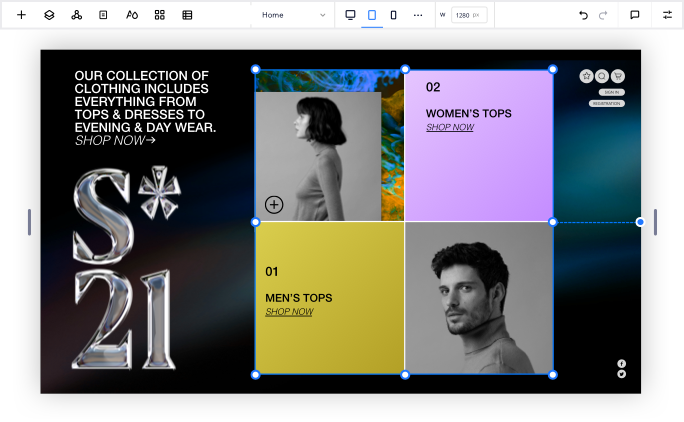 Image of a clothing store website in progress inside the Editor X workspace. The brand name SS21 is positioned in chunky letters on the left, and a mosaic box design shows off purple and gold squares, plus male & female clothing models in black and white.