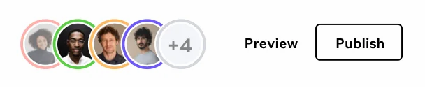 image showing 4 avatars of users collaborating on a site, there is another circle with +4. There is also the word preview and a button with the word publish.