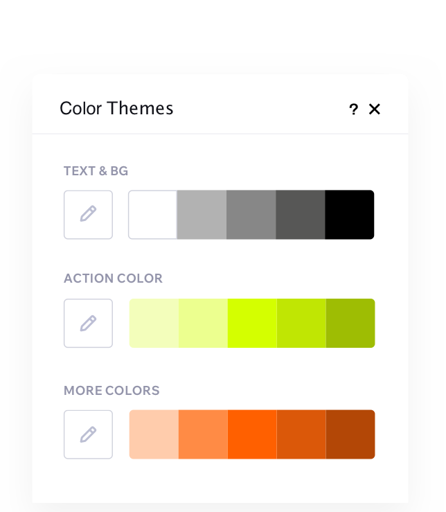 The color theme panel is open showing 3 different color pallets of black, green and orange.