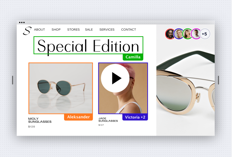 Image for collaboration event showing a team building a website that sells sunglasses. Their faces are in the top corner and the element they are editing is highlighted in a bright color.