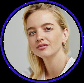 Circular avatar with model portrait shot.