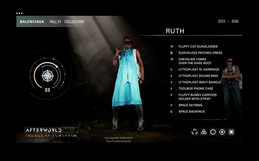 A screenshot of the Balenciaga Afterworld video game showing a model avatar