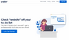 Website thumbnail of a website creation and management service. Illustration of a woman using a computer and dark blue text over a white background cover the homepage.