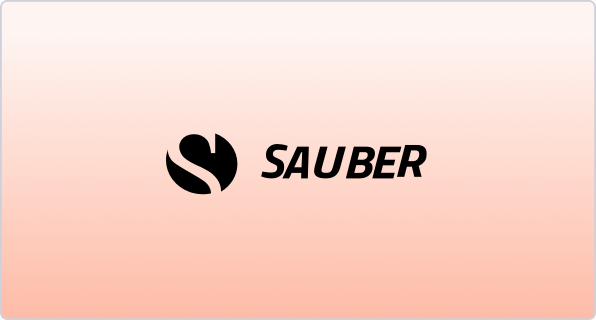 Image showing a ombre peach background with the name and logo of a company on top of it.