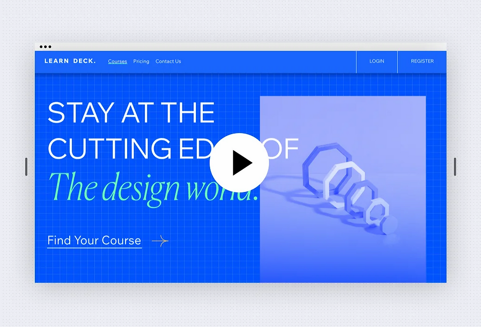 Image for content manager part 2 webinar. Image shows a design learning website with a horizontal menu at the top. On the left side is text and on the right side there is an image.