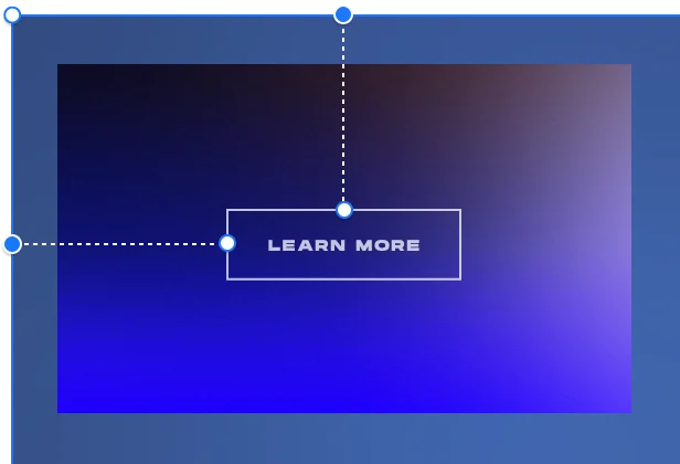 image showing a button with a CTA learn more docked to the center and left on a blue gradient background.