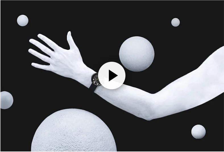 Image of a white arm wearing a black watch, and 6 white spheres scattered over a black background.