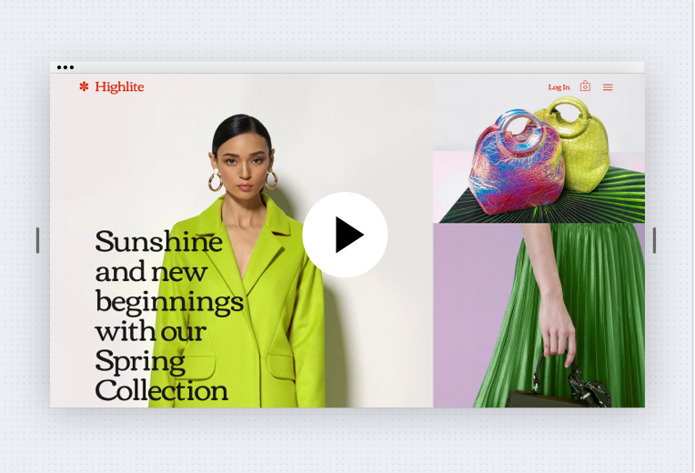 Image showing first fold of website. On the left side is an image of a woman facing forward wearing a lime green jacket, there is text over the left side of her body. The right side is split into 2 containers, in the top right there is an image of handbags. In the bottom right, there is an image of a woman standing on her side, her bottom half, and arm carrying a bag are visible. At the top, there is a red horizontal menu bar on the right and the logo on the left.