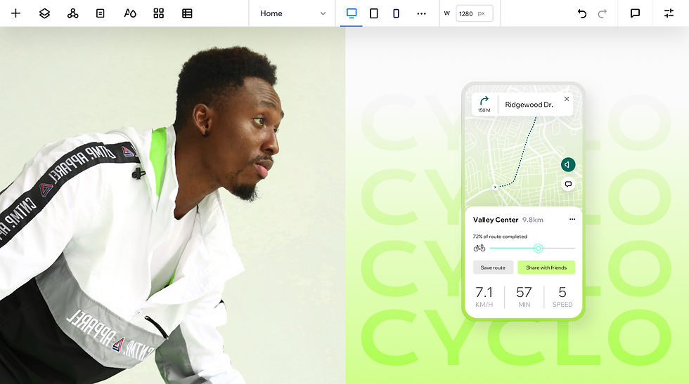 On the workspace, on the left side is a man wearing sports clothing looking to the right. On the right, is a green gradient background with the word 'Cyclo' over it. On top of that, is a mobile with a map display on it and a KM counter.