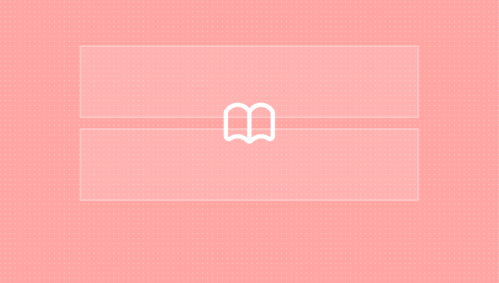 Thumbnail indicating design libraries. Pink background with a shaded pink box over it and an icon in the middle.