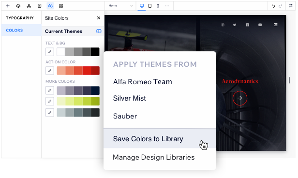 Image showing design libraries open on designed site, with colors shown. The mouse is hovering over one of the color themes, showing the option to 'save color to library'
