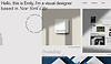 Website showing thumbnail for web designer, Emily. Image shows 3 photos on the right side of the page, and a white space on the left. There is a horizontal menu at the top.