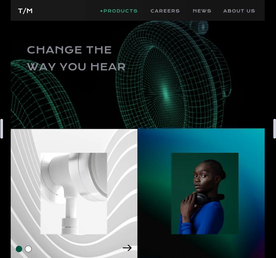 Image showing website for headphones.