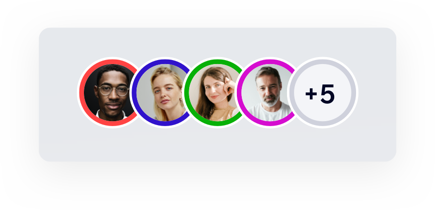Avatars for site collaborators including profile pictures with various border colors.