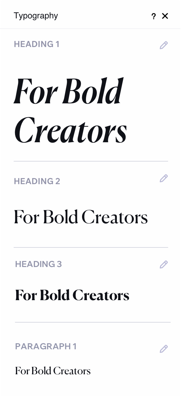 Image showing typography options. There are 3 headings and one paragraph, in the right corner of each one, is an icon indicating that they are editable.
