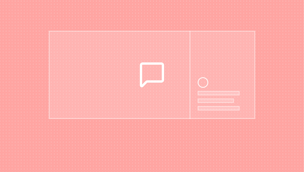 Thumbnail for live comments. Pink background with shaded box in the centre. Box is split into 2 uneven sized boxes. There is 1 speech bubble symbol in the middle of the big box and shapes in the bottom of the smaller one.