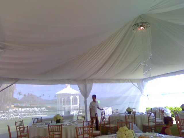 30x30 Freespan Tent with Ceiling Liner & Large Acrylic Swirl Chandelier.jpg