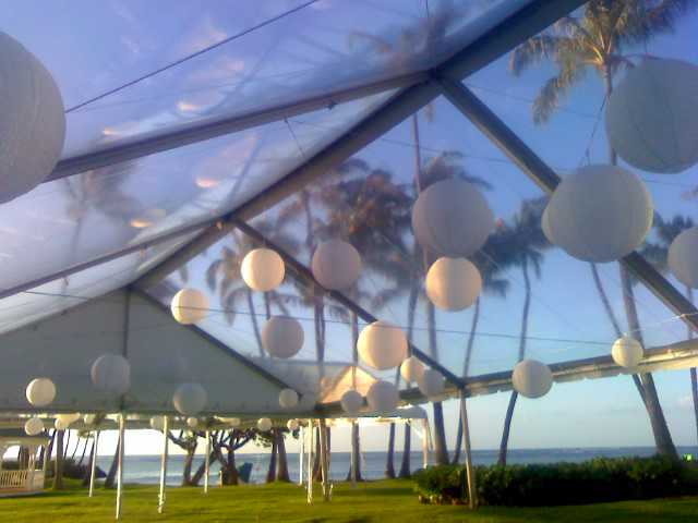 30x60 Freespan Tent with Asian Lanterns