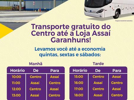Transporte gratuito do Centro até a Loja Assaí Garanhuns