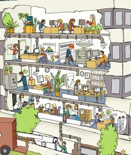 Illustration Bürokomplex