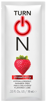 Sample packet of the strawberry flavored best lube on the sex lubricant market.