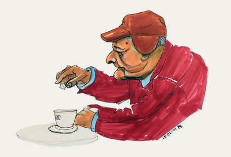 """Senior having a cofee break"""