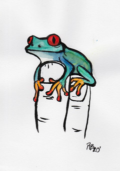 Tree Frog On Fingers 2020