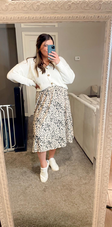 Boyfriend Cardigan and midi skirt leopard print outfit