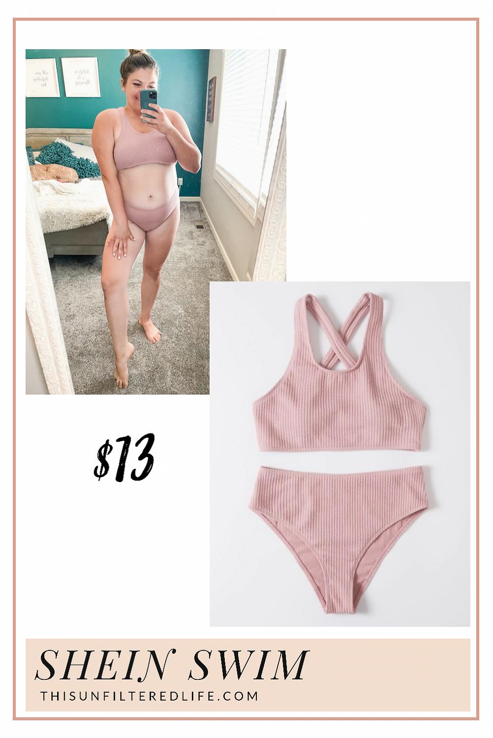 Textured high waisted bikini SHEIN plus size bikini midsize swimsuit curvy swimwear