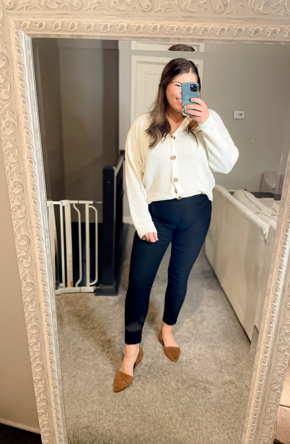Boyfriend and Cardigan teacher outfit for fall