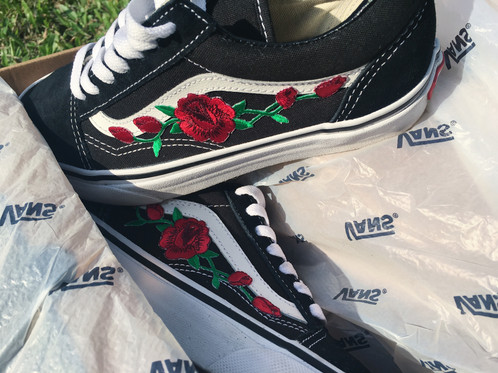 AUTHENTIC Vans Classic Old Skool With Custom Red Rose Embroidery