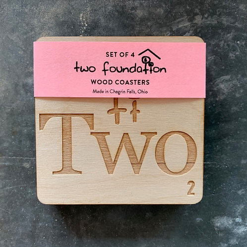 Two Foundation Wood Coasters