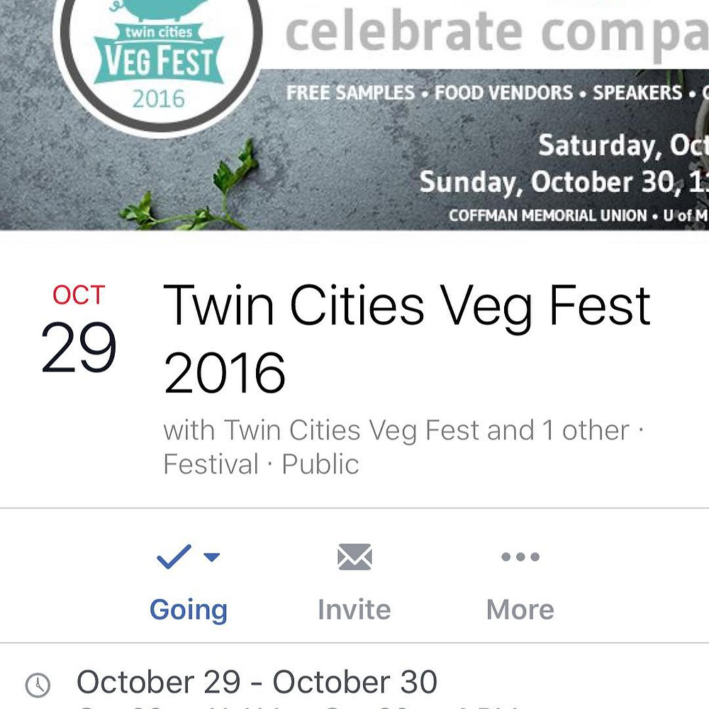 Come visit us at the Twin Cities Veg Fest this weekend. There will be yummy foods to sample and buy, speakers, and some amazing vendors. This will be our first time attending, and we are beyond excited to be presenting Farmaste Animal Sanctuary to everyone. Come join in the fun!